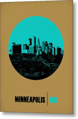 Minneapolis Circle Poster 1 Metal Print by Naxart Studio