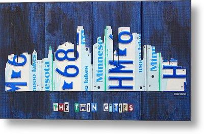 Minneapolis Minnesota City Skyline License Plate Art The Twin Cities Metal Print by Design Turnpike