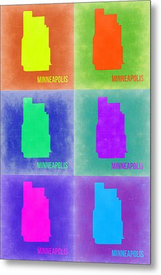 Minneapolis Pop Art Map 3 Metal Print by Naxart Studio