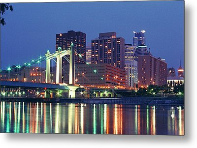 Minneapolis Skyline At Night Metal Print by Heidi Hermes
