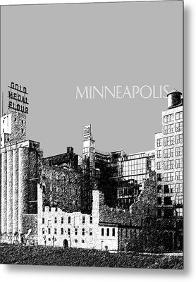 Minneapolis Skyline Mill City Museum - Silver Metal Print by DB Artist