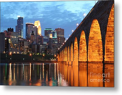 Minneapolis Skyline Photography Stone Arch Bridge Metal Print
