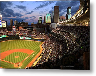 Minnesota Twins Minneapolis Skyline Target Field Metal Print