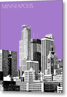 Minneapolis Skyline - Violet  Metal Print by DB Artist