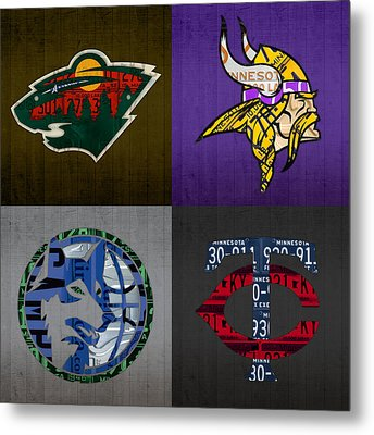 Minneapolis Sports Fan Recycled Vintage Minnesota License Plate Art Wild Vikings Timberwolves Twins Metal Print by Design Turnpike