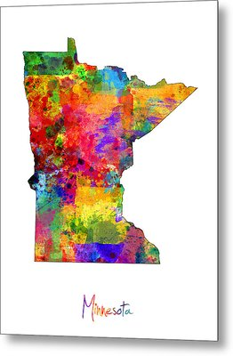 Minnesota Map Metal Print