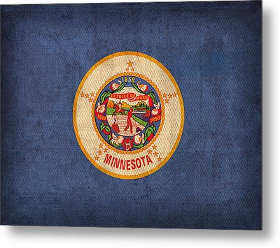 Minnesota State Flag Art On Worn Canvas Metal Print