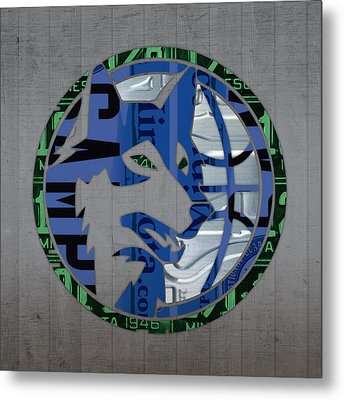 Minnesota Timberwolves Basketball Team Retro Logo Vintage Recycled Minnesota License Plate Art Metal Print by Design Turnpike