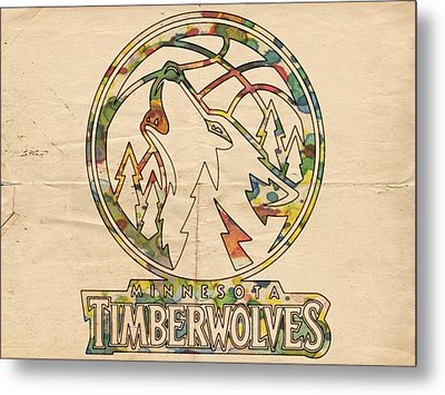Minnesota Timberwolves Retro Poster Metal Print by Florian Rodarte