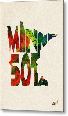 Minnesota Typographic Watercolor Map Metal Print by Ayse Deniz