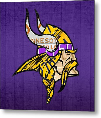 Minnesota Vikings Football Team Retro Logo Minnesota License Plate Art Metal Print