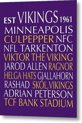 Minnesota Vikings Metal Print by Jaime Friedman