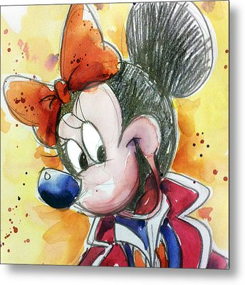 Minnie Mouse Metal Print by Andrew Fling
