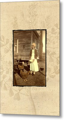 Metal Print featuring the photograph Minnie's Chickens by Ron Crabb