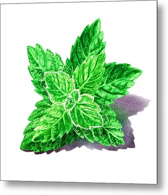 Metal Print featuring the painting Mint Leaves by Irina Sztukowski