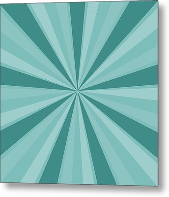 Mint Teal Sun Burst Metal Print