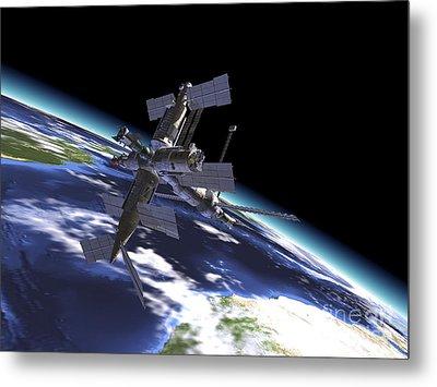 Mir Russian Space Station In Orbit Metal Print by Leonello Calvetti