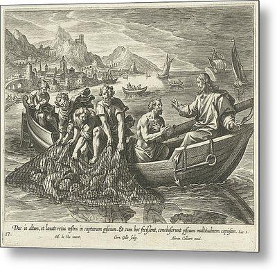 Miraculous Fishing, Cornelis Galle I, Adriaen Collaert Metal Print