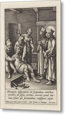 Miraculous Healing By Ignatius Loyola Of A Man Who Hanged Metal Print