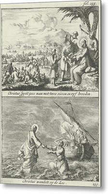 Miraculous Multiplication Of Loaves And Fishes By Christ Metal Print
