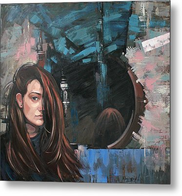 Metal Print featuring the painting Mirror by Anastasija Kraineva