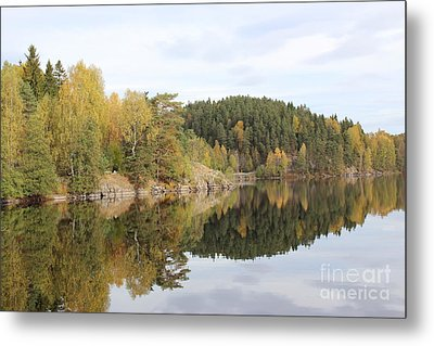 Mirror Image Of The Fall Season Metal Print