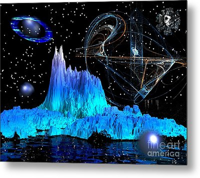 Mirrored Blue Image Metal Print by Jacqueline Lloyd