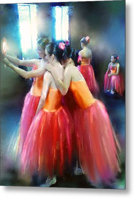 Mirrored Coral Dancers In Light Metal Print