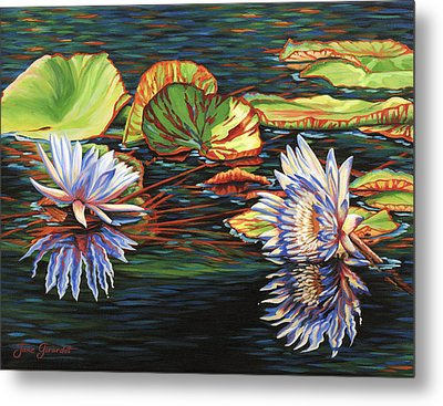 Mirrored Lilies Metal Print by Jane Girardot