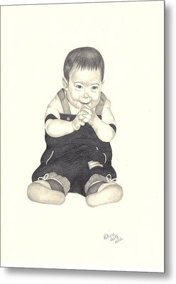 Metal Print featuring the drawing Mischievous by Patricia Hiltz