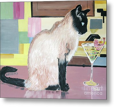 Metal Print featuring the painting Miss Kitty And Her Treat by Phyllis Kaltenbach