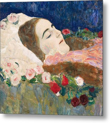 Miss Ria Munk On Her Deathbed Metal Print by Gustav Klimt