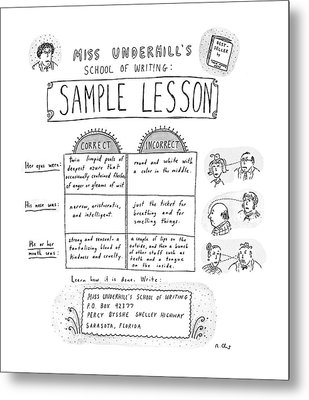 Miss Underhill's School Of Writing Sample Lesson Metal Print by Roz Chast