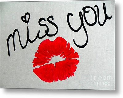 Metal Print featuring the painting Miss You  by Marisela Mungia