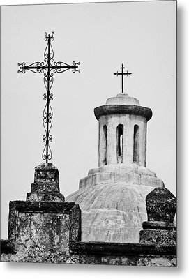 Metal Print featuring the photograph Mission Concepcion Crosses by Andy Crawford