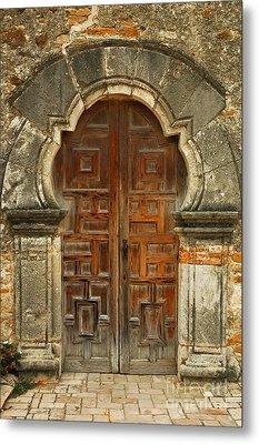 Mission Espada Door  Metal Print by Olivia Hardwicke