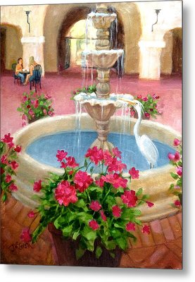 Mission Inn Fountain Metal Print by Janet McGrath