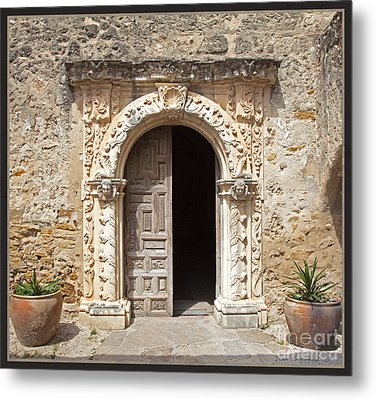 Mission San Jose Chapel Entry Doorway Metal Print by John Stephens