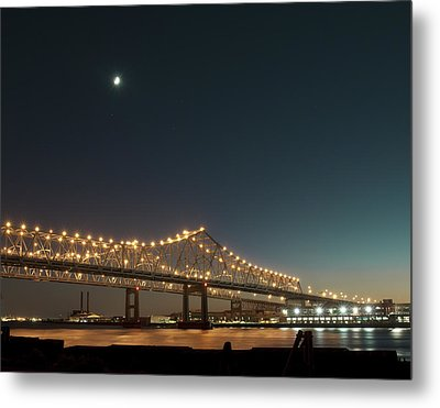 Metal Print featuring the photograph Mississippi Bridge Moonlight by Ray Devlin