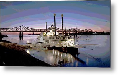 Mississippi Casino Boat Metal Print by Charles Shoup