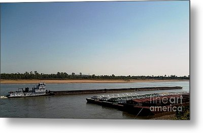 Mississippi River Barge Metal Print by Kelly Awad