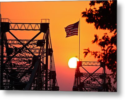 Mississippi River Bridge Sunset Metal Print