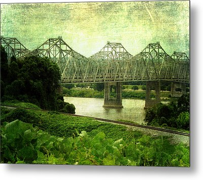 Mississippi River Bridge Metal Print by Terry Eve Tanner