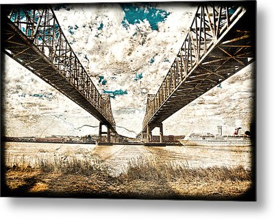 Metal Print featuring the photograph Mississippi River Bridge Twin Spans by Ray Devlin