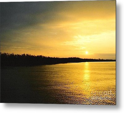 Metal Print featuring the photograph Sunrise Over The Mississippi River Post Hurricane Katrina Chalmette Louisiana Usa by Michael Hoard