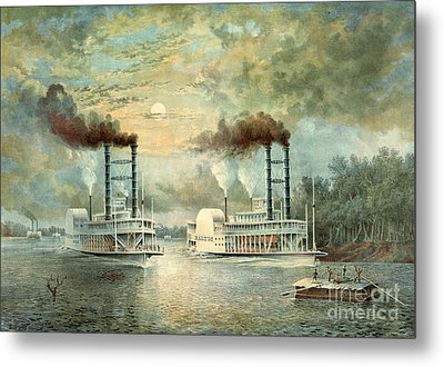 Mississippi Steamboat Race 1859 Metal Print by Padre Art
