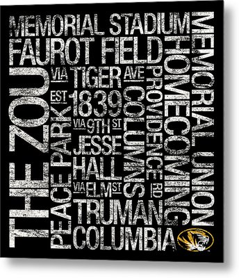 Missouri College Colors Subway Art Metal Print by Replay Photos