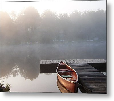 Mist Floating Over The Lake Metal Print by Catherine Gagne