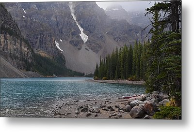 Mist Over Lake Moraine Metal Print