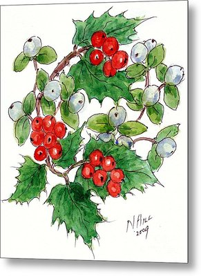 Mistletoe And Holly Wreath Metal Print by Nell Hill